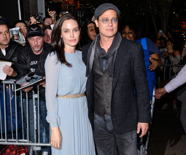 Brad Pitt and Angelina Jolie arrive at a screening of 'By The Sea', New York 3 November