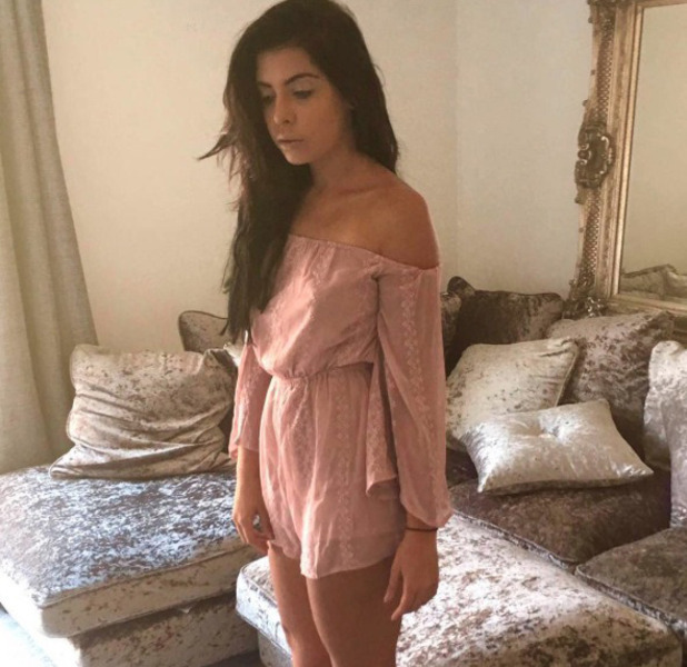 Love Island's Cara de la Hoyde wears blush pink playsuit from Missy Empire, Instagram, 21 September 2016