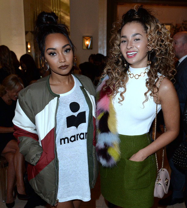 Leigh-Anne Pinnock and Ella Eyre attend the Aspinal of London presentation during London Fashion Week Spring/Summer collections 2017 on September 19, 2016 in London, United Kingdom.
