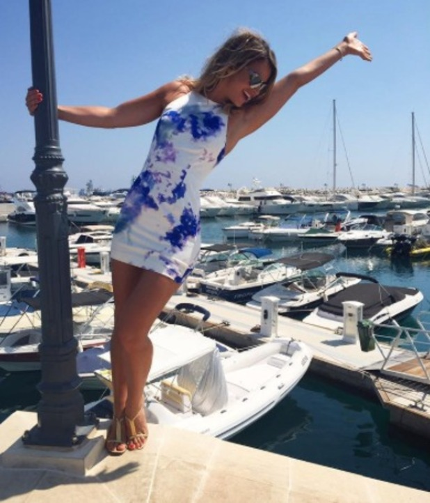 Vogue Williams poses on holiday