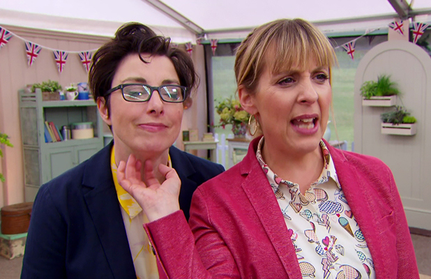 The Great British Bake Off. Broadcast on BBC OneHD 2016 Mel and Sue