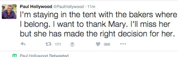 Paul Hollywood tweets about decision to stay on Great British Bake Off 2016