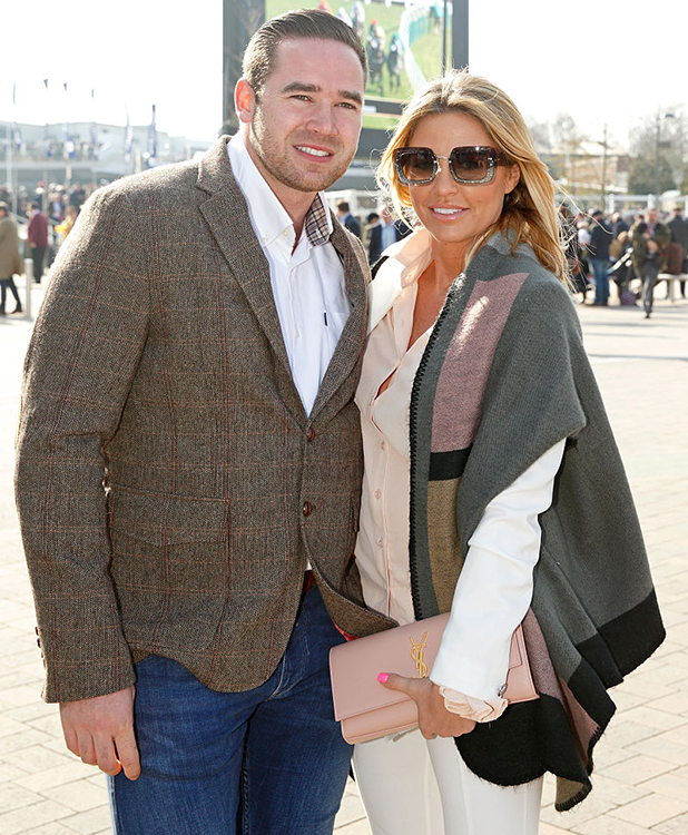 Kieran Hayler and Katie Price attend day 3, St Patrick's Day, of the Cheltenham Festival on March 17, 2016 in Cheltenham, England. (Photo by Max Mumby/Indigo/Getty Images)