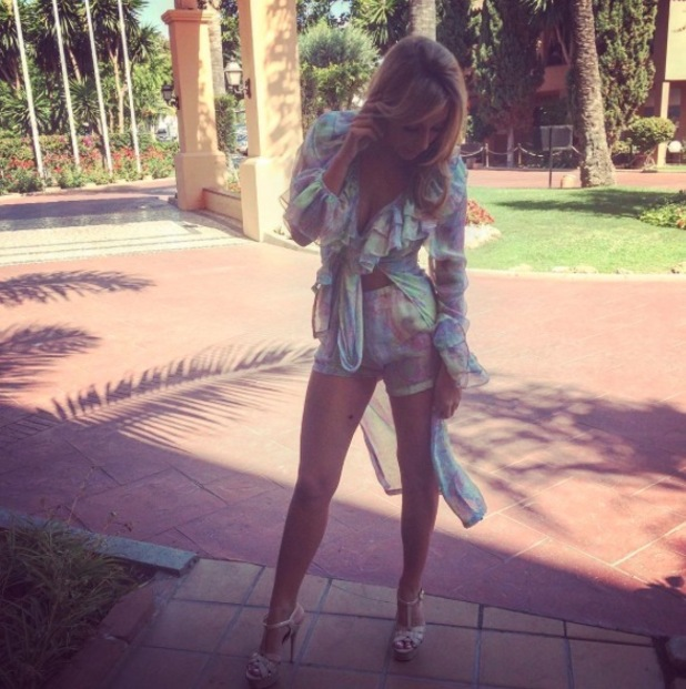 The Only Way Is Essex's Amber Dowding wears metallic co-ords in Marbella, Instagram, 27 September 2016