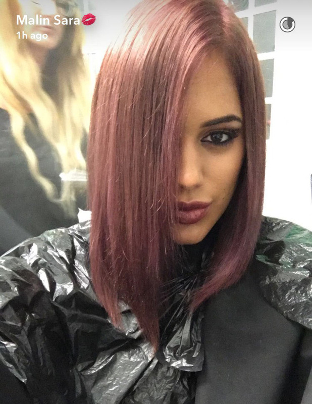 Love Island's Malin Andersson dyes her hair berry-purple, 29 September 2016
