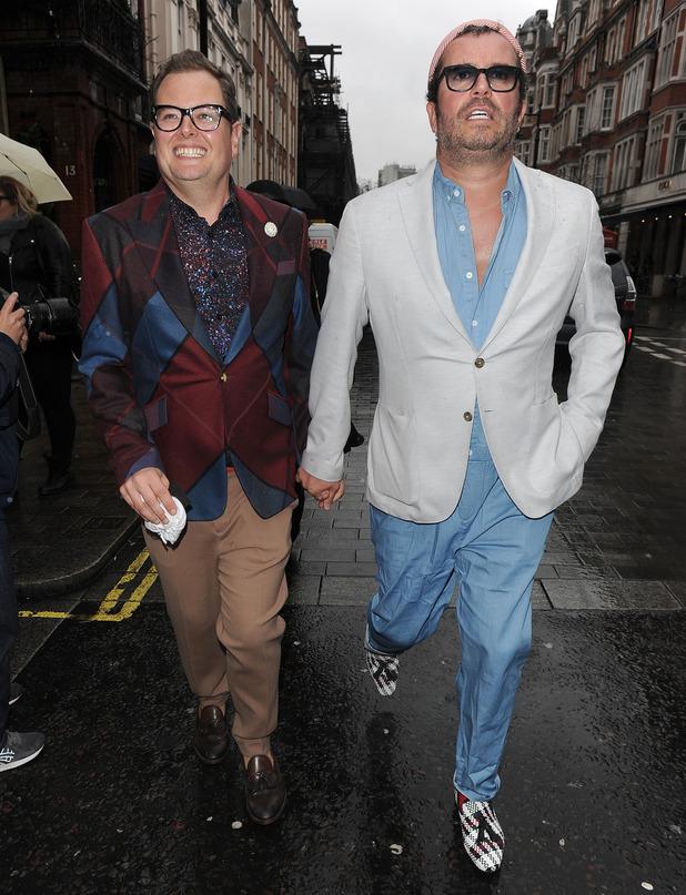 Alan Carr and fiancé Paul Drayton attend London Fashion Week February 2016