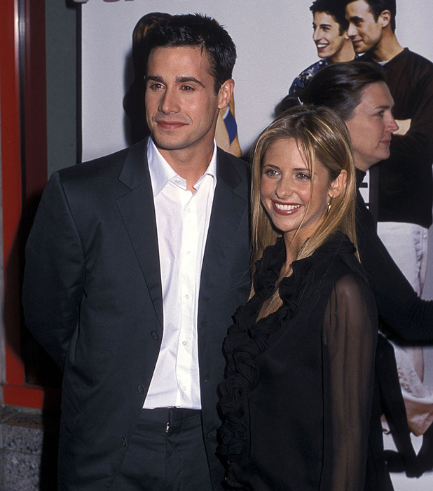 Freddie Prinze, Jr. and actress Sarah Michelle Gellar attend the 'Boys and Girls' New York City Premiere on June 13, 2000 at Kips Bay Theatre in New York City.