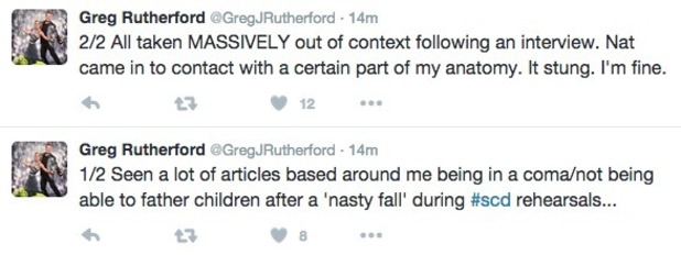 Greg Rutherford tweets about Strictly injury 6 October