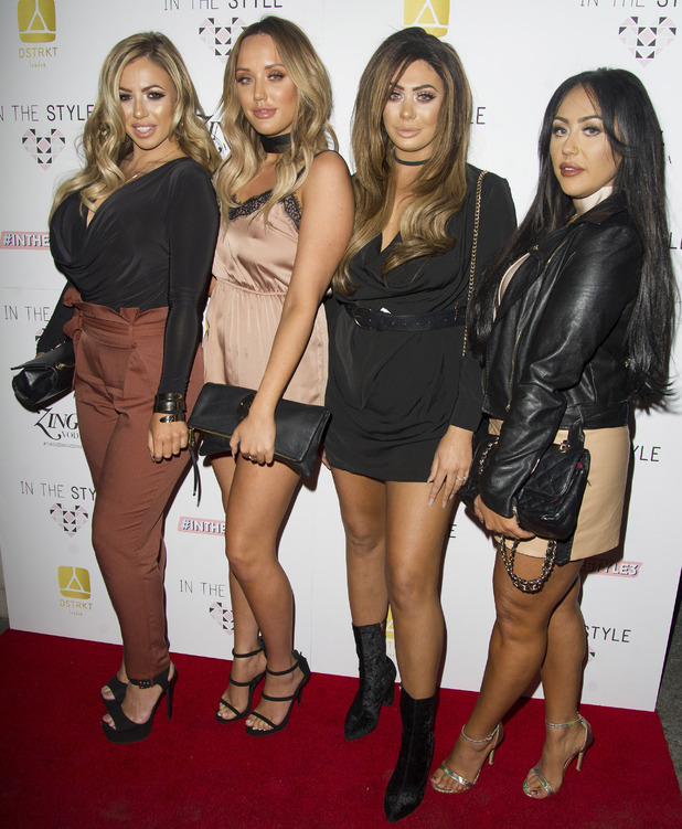 Geordie Shore girls Sophie Kasaei, Charlotte Crosby, Holly Hagan, Chloe Ferry at the In The Style party, London 6 October 2016