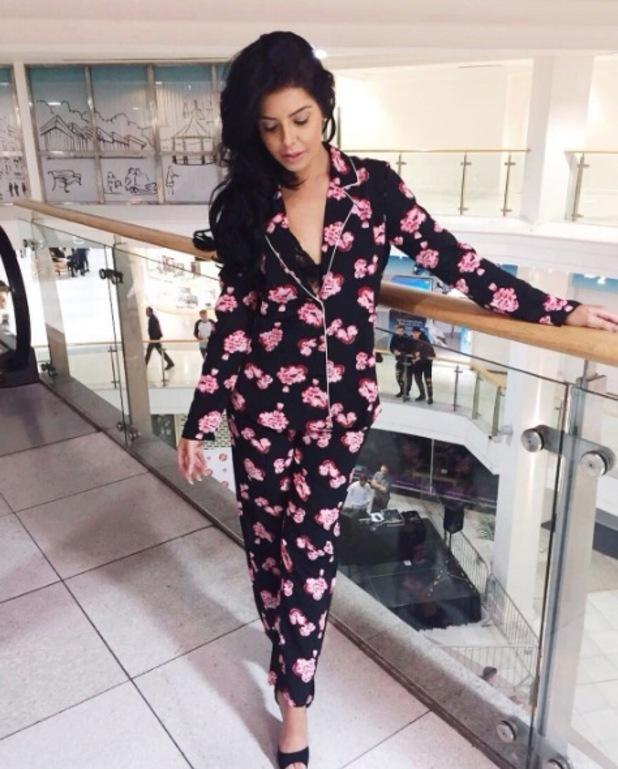 Love Island star Cara de la Hoyde wears pyjama suit, 5 October 2016