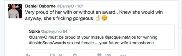 Dan Osborne tweets about Jacqueline Jossa winning Sexiest Female at Inside Soap Awards