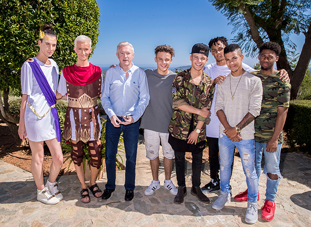 Louis Walsh and his X Factor groups: Brooks Way, Bratavio and 5 After Midnight