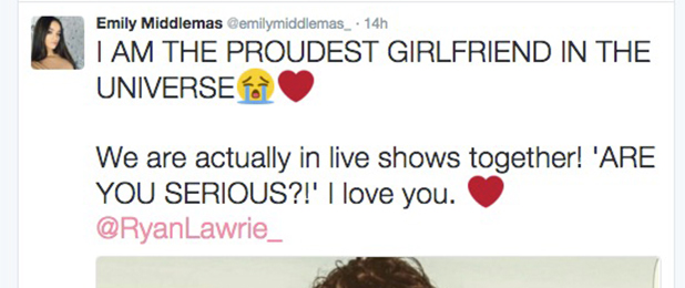 X Factor: Emily Middlemas and Ryan Lawrie congratulate each other on making live shows 2 October 2016
