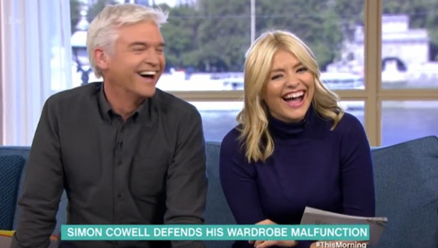 Phillip Schofield and Holly Willoughby laugh at Simon Cowell big toe photo from X Factor Judges' Houses 3 October 2016