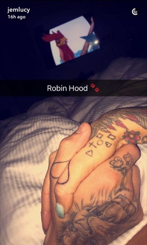 Jem Lucy and Bear get matching tattoos, Snapchat 10 October