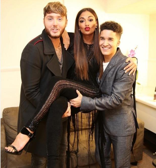 Nicole Scherzinger, James Arthur and Jahmene Douglas at The X Factor 14 October