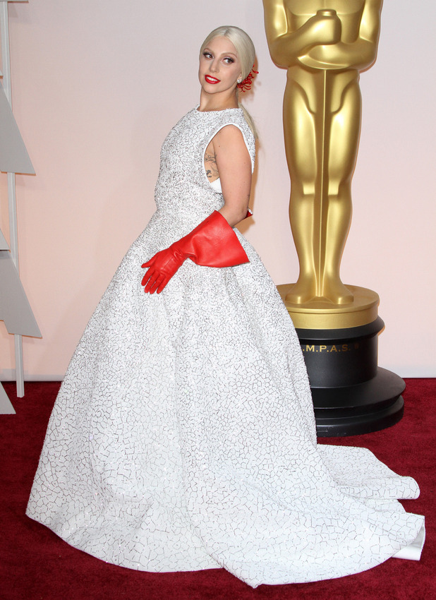 Lady Gaga on the red carpet at The Oscars, Los Angeles, 22 February 2016