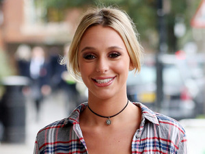 TOWIE's Amber Dowding serves casual vibes in checks during filming
