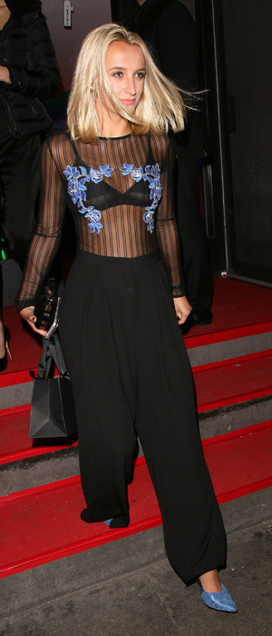 Made In Chelsea star Tiffany Watson flashes her bra at the Faberge event, London, 20 October 2016