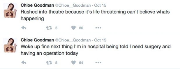 Chloe Goodman tweets about surgery 20 October