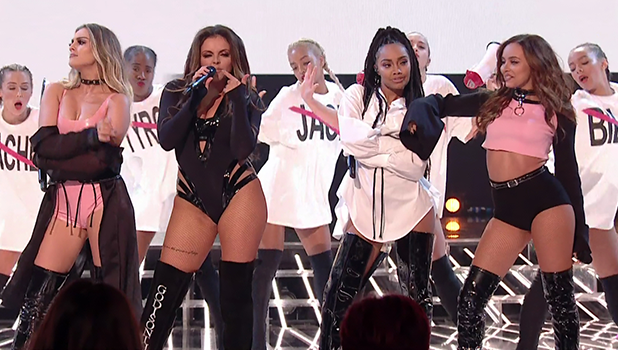 Little Mix perform their new single 'Shout Out To my Ex' on 'The X Factor: Results'. Broadcast on ITV1HD