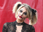 TOWIE star Danielle Armstrong gives us a fright in Halloween-inspired ventriloquist doll costume during filming