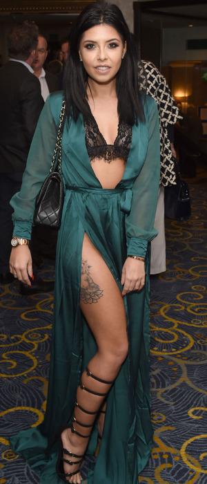 Love Island's Cara de la Hoyde at the Nordoff Robbins Dinner, London, 24 October 2016
