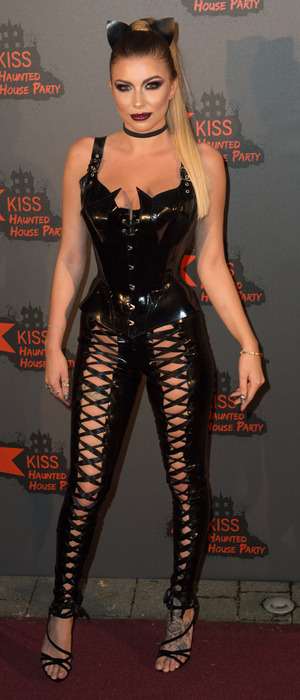 Love Island's Olivia Buckland dressed as Catwoman at the KISS FM Haunted House Party, London, 27 October 2016