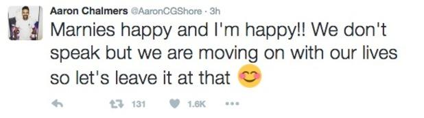 Geordie Shore: Aaron Chalmers tweets about Marnie Simpson 26 October