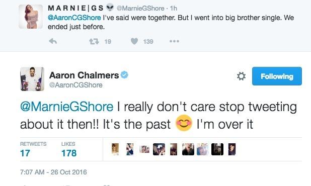 Geordie Shore: Marnie Simpson and Aaron Chalmers' tweets 26 October