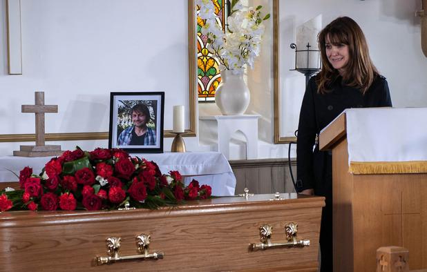 Emmerdale, Emma at James's funeral, Fri 4 Nov