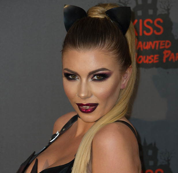 Love Island star Olivia Buckland shows off her glittery lips at the KISS FM Haunted House Party, 27 October 2016