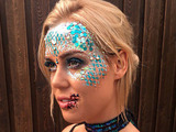 TOWIE's Chloe Meadows shows off her 'dead mermaid' make-up as she films the Halloween special at Thorpe Park, Chertsey, 26 October 2016
