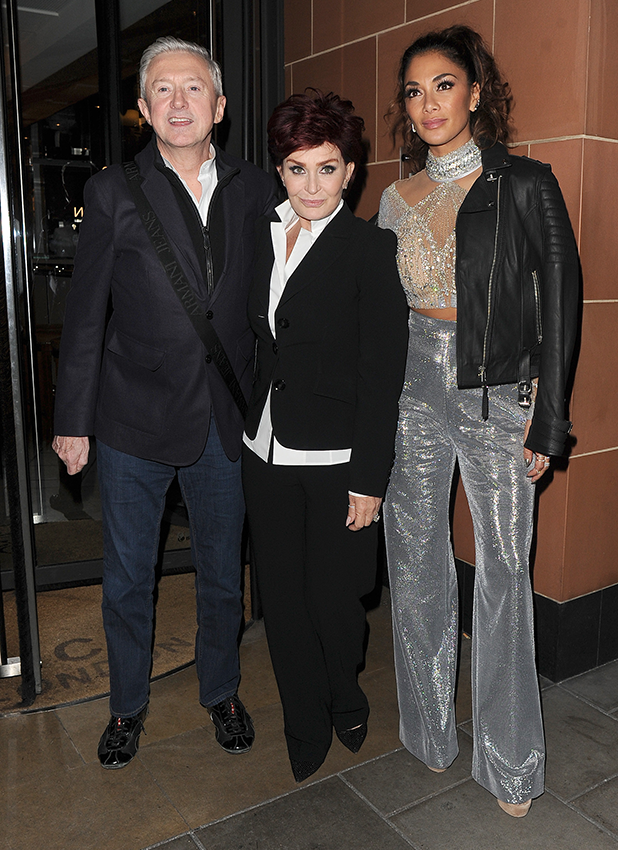'X Factor' judges Nicole Scherzinger, Louis Walsh and Sharon Osbourne enjoy a late dinner at C restaurant in Mayfair, following the results of the live TV show. 23 October 2016