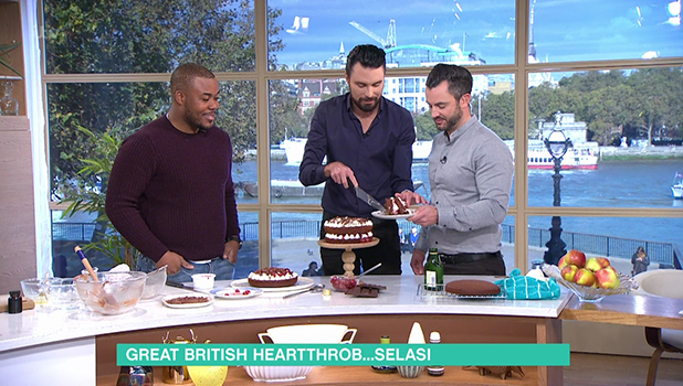 Selasi Gbormittah bakes a black forest gateau on 'This Morning'. Broadcast on ITV1 28 October 2016