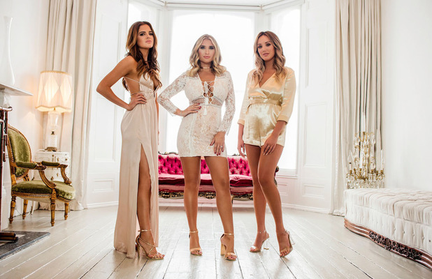 Former TOWIE star Billie Faiers unveils her Christmas collection with In The Style, campaign picture including Binky Felstead and Charlotte Crosby, 2 November 2016