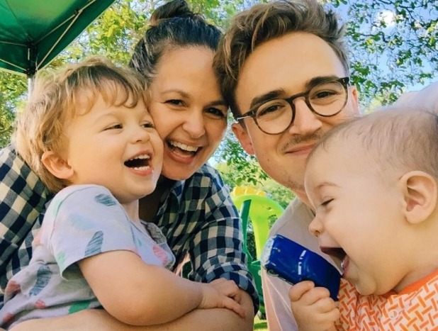 Tom Fletcher and Giovanna Fletcher with sons Buzz and Buddy 30 October