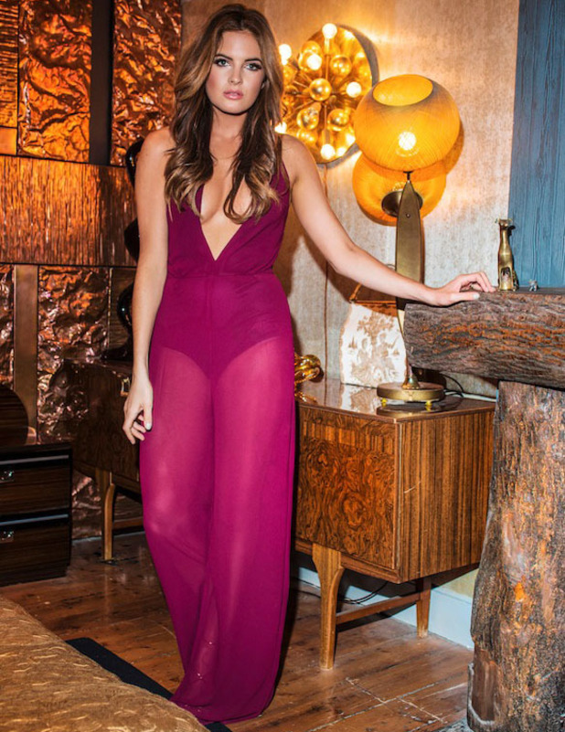 Made In Chelsea star Binky Felstead unveils her Christmas collection for In The Style, magenta sheer jumpsuit, 2 November 2016