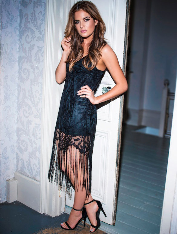 Made In Chelsea star Binky Felstead unveils her In The Style Christmas collection, tassel hem dress, 2 November 2016