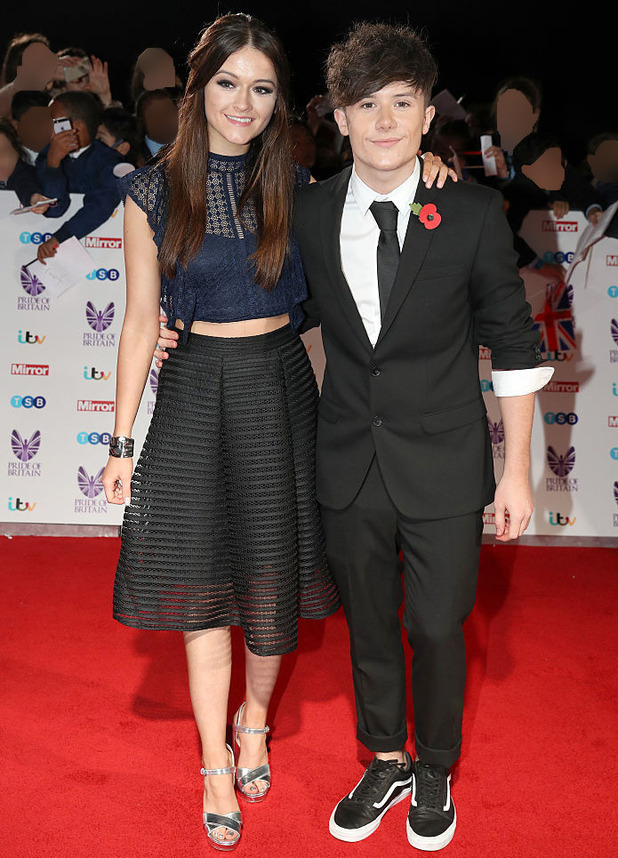 Emily Middlemas and Ryan Lawrie attend the Pride Of Britain awards at the Grosvenor House Hotel on October 31, 2016 in London, England
