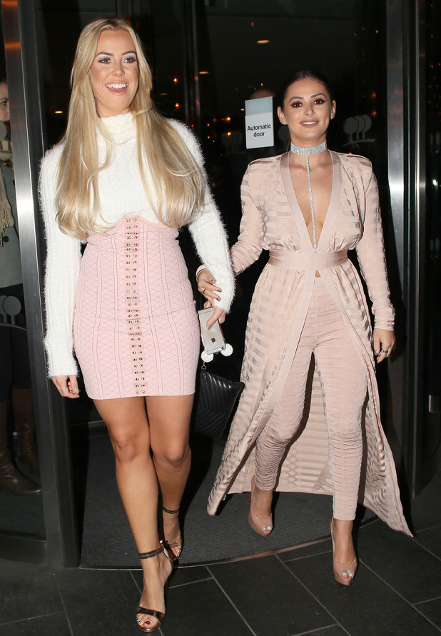 TOWIE stars Chloe Meadows & Courtney Green leaving the ShowReal Dating App launch party in London, 2 November 2016