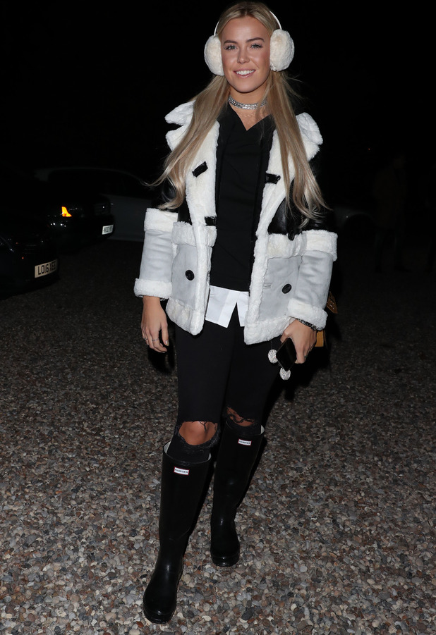 TOWIE star Chloe Meadows wearing jacket from Pretty Little Thing during filming, 2 November 2016