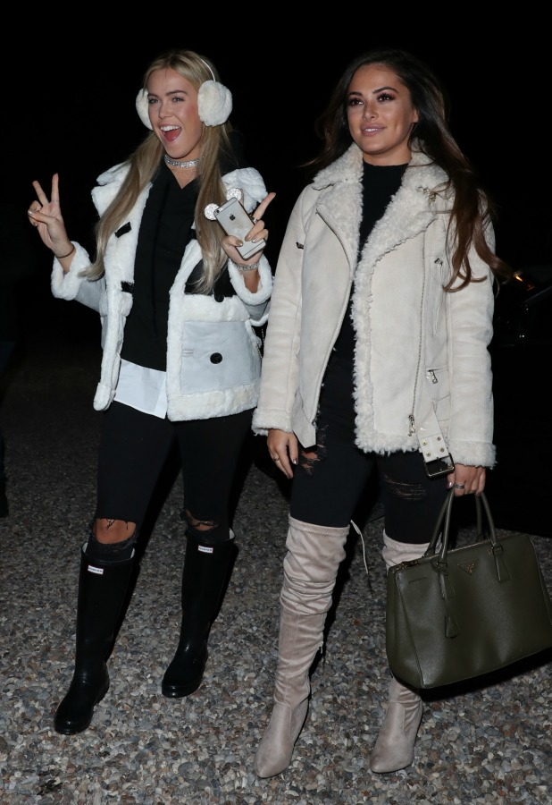 TOWIE's Chloe Meadows and Courtney Green at Bonfire Night filming 1 November 2016