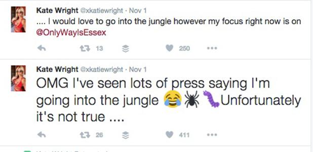 Kate Wright denies I'm A Celebrity rumours 2016