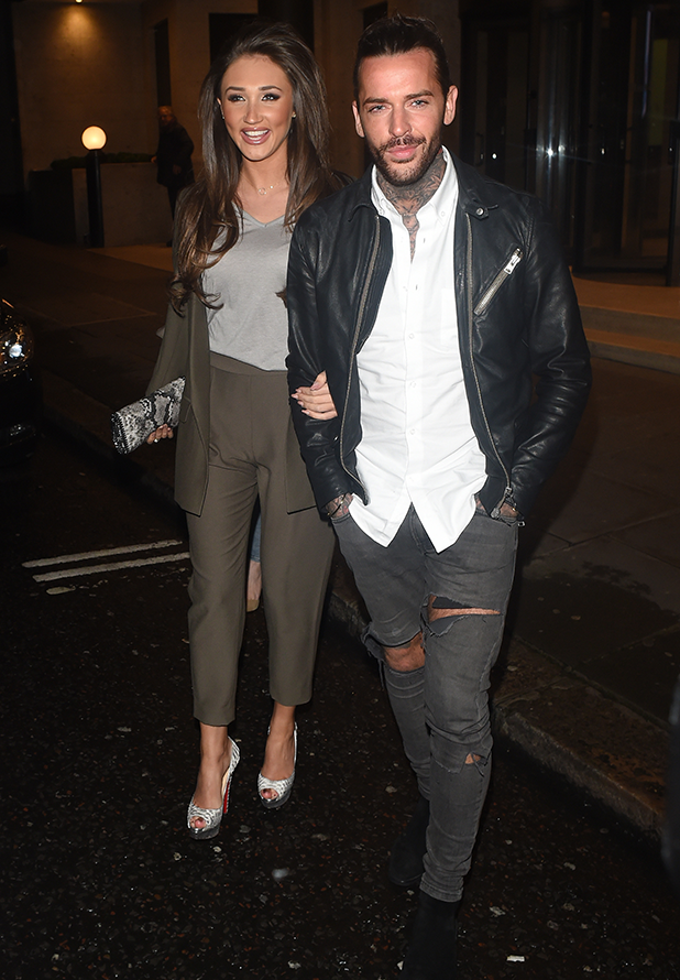 Peter Wicks and Megan Mckenna seen arriving at Kensington Roof Gardens in London. 2016