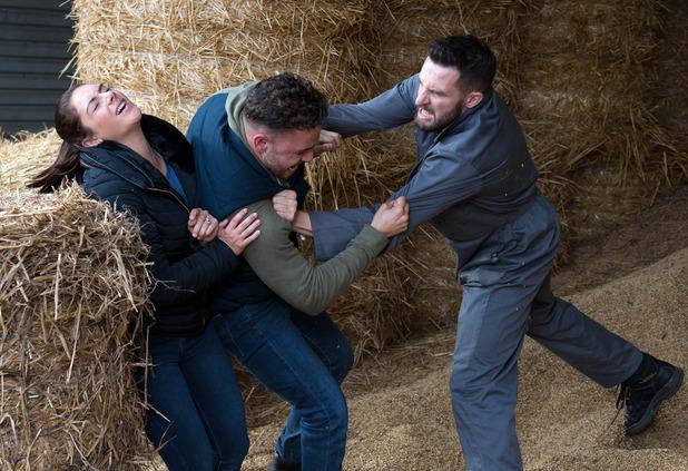 Emmerdale, Ross and Adam fight, Thu 10 Nov