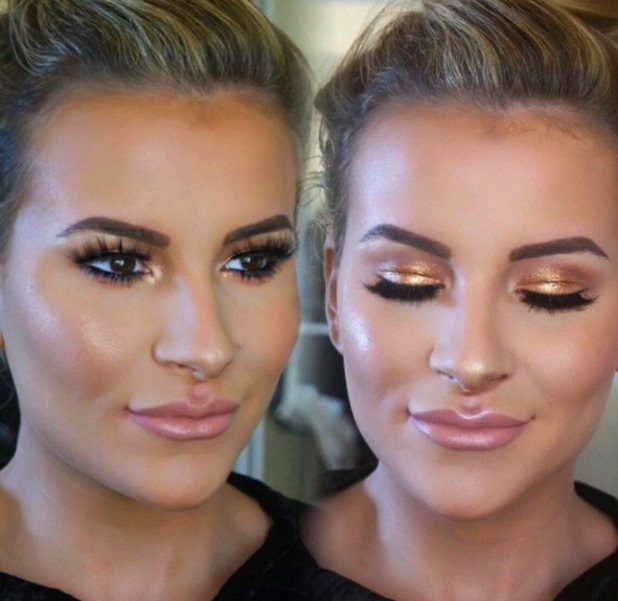 Georgia Kousoulou shows off gorgeous gold make-up for TOWIE finale show, by Beau Parrish, 6 November 2016