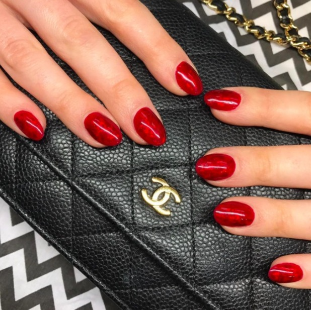 Helen Flanagan shows off gorgeous red nails by Notorious Nails, 10 November 2016