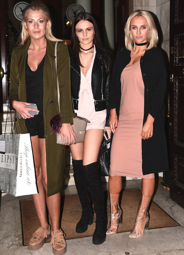 Tiffany Watson, Frankie Gaff and friend at Boux Avenue party, London, 9 November 2016