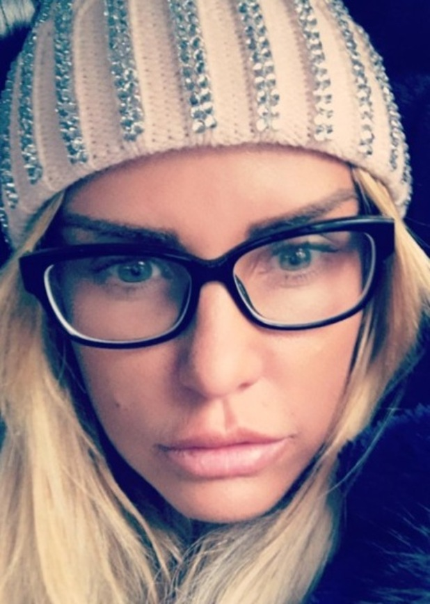 Katie Price poses in glasses before laser eye surgery - 9 Nov 2016